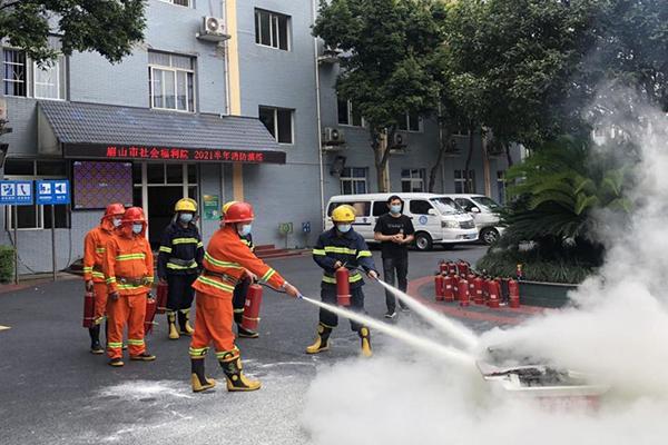 消防演练不过场  老人安全有保障